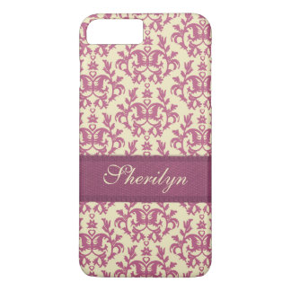 Botanic damask pink plum iphone name case