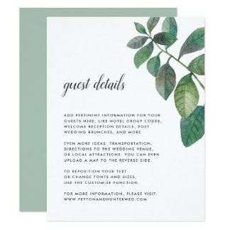 Botanica Wedding Guest Details Card