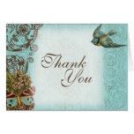 Botanica Wedding Thank You Note - Aqua Blue Cards