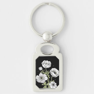 Botanical   Anemone White Flower Silver-Colored Rectangle Key Ring