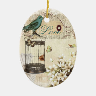 botanical art birdcage modern vintage french bird christmas ornament