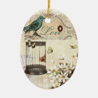 botanical art birdcage modern vintage french bird christmas ornament