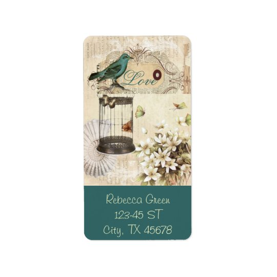 botanical art birdcage modern vintage french bird label