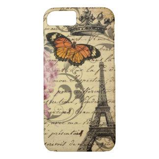 botanical art scripts hydrangea Paris Eiffel tower iPhone 8/7 Case