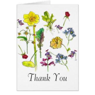 Botanical Art Vegetable Flowers Thank You Card