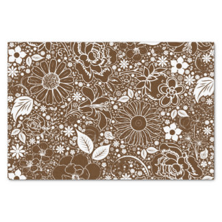 Botanical Beauties-Brown-White-TISSUE WRAP PAPER