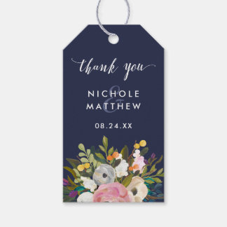 Botanical Bliss Custom Color Wedding Gift Tags