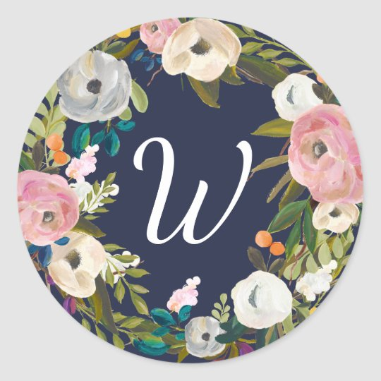 Botanical Bliss Custom Colour Monogram Stickers