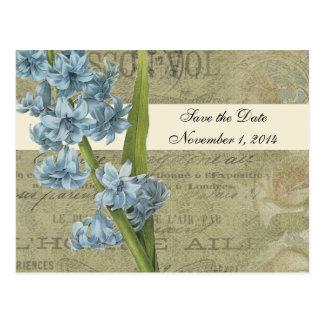 Botanical Blue Vintage Save the Date Postcard