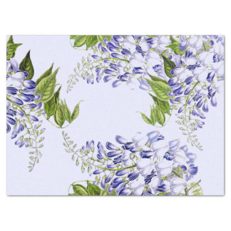 Botanical Blue Wisteria Flower Floral Tissue Paper