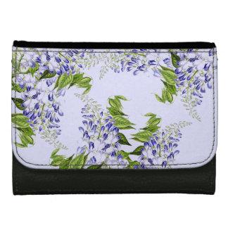 Botanical Blue Wisteria Flower Floral Wallet