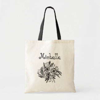 Botanical Bouquet Name Tote Bag