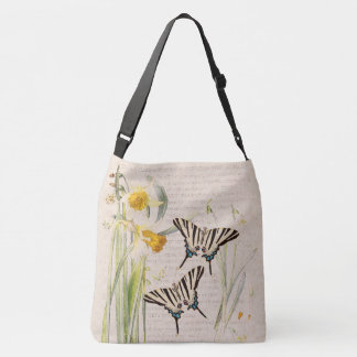 Botanical Butterfly Narcissus Flowers Tote Bag