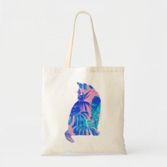 botanical cat tote bag
