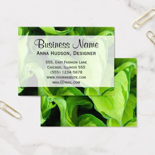 Botanical Close Up - Green Leaves (Leaf) Business Card