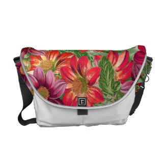 Botanical Dahlia Flowers Floral Messenger Bag
