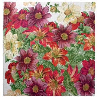 Botanical Dahlias Floral Flower Cloth Napkins