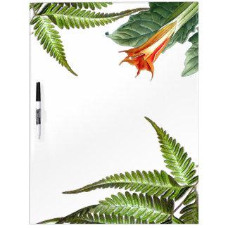 Botanical Datura Flowers Ferns Dry Erase Board