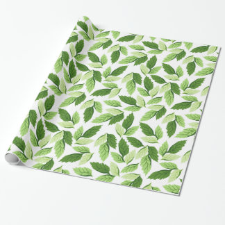 Botanical Design, Leaves (Leaf) - Green White Wrapping Paper
