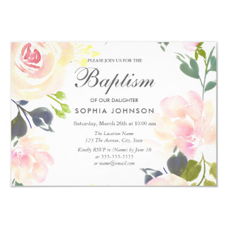 Botanical Elegant Floral Girl Baptism Invite