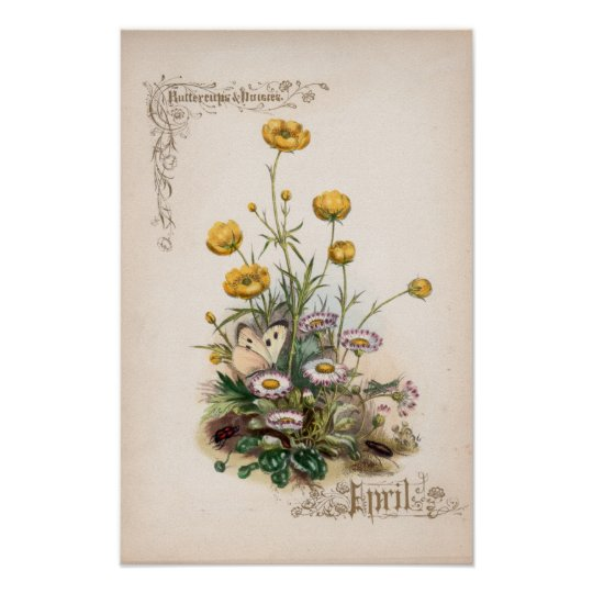 Botanical Engravings, April Poster