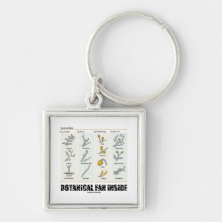 Botanical Fan Inside (Types Of Buds) Silver-Colored Square Key Ring