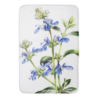 Botanical Floral Blue Salvia Flowers Bath Mat Bath Mats
