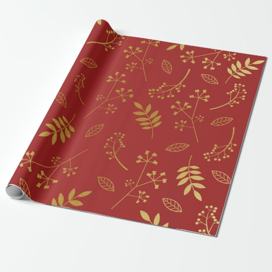 Botanical Floral Leaves Faux Gold Foil Maroon Red