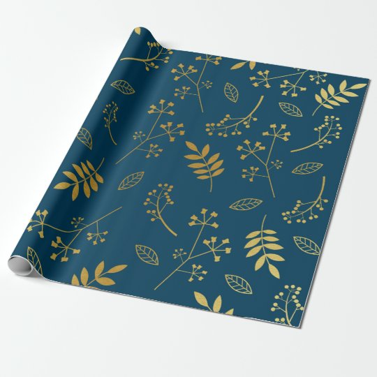 Botanical Floral Leaves Faux Gold Foil Navy Wrapping