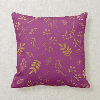 Botanical Floral Leaves Faux Gold Foil Purple Cushion