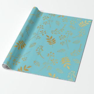 Botanical Floral Leaves Faux Gold Foil Sky Blue Wrapping Paper