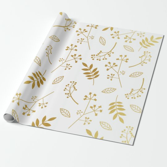 Botanical Floral Leaves Faux Gold Foil White Wrapping