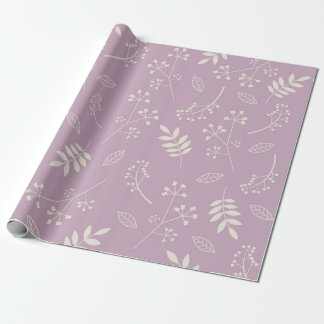 Botanical Floral Leaves Greenery Lavender Wrapping Paper