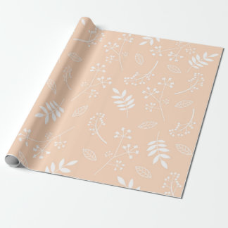 Botanical Floral Leaves Greenery Pastel Peach Wrapping Paper