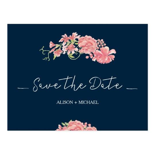 Botanical floral navy pink wedding save date postcard