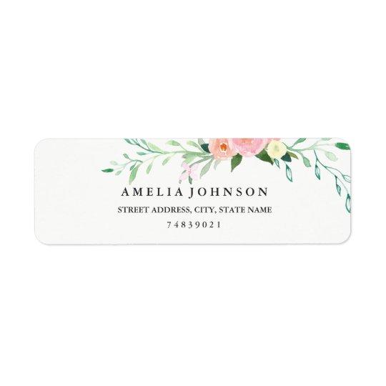 Botanical Floral Watercolor Address Label