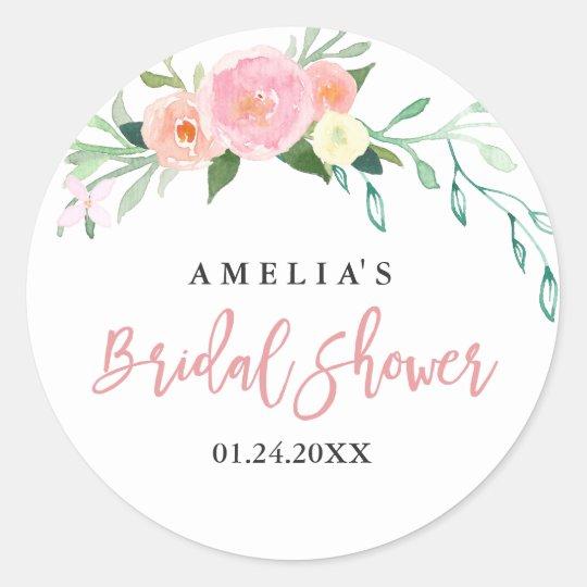 Botanical Floral Watercolor Bridal Shower Sticker