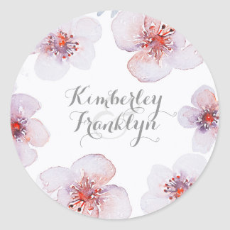 Botanical Floral Watercolor Elegant Modern Wedding Classic Round Sticker