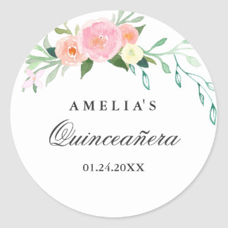 Botanical Floral Watercolor Quinceanera Sticker
