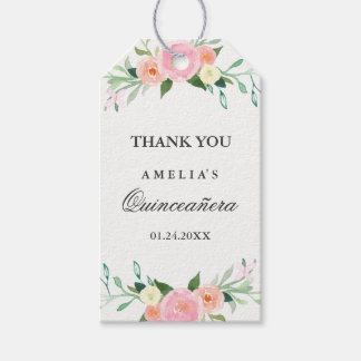 Botanical Floral Watercolor Quinceanera Tags