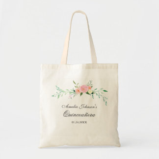 Botanical Floral Watercolor Quinceanera Tote Bag