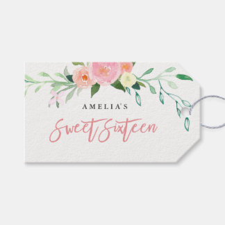Botanical Floral Watercolor Sweet 16 Tags
