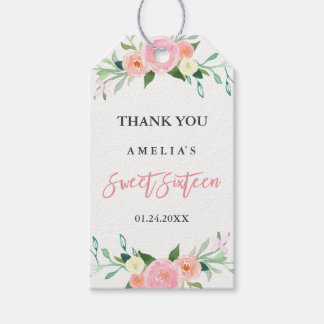 Botanical Floral Watercolor Sweet Sixteen Tags