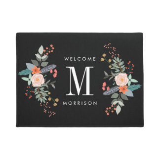 Botanical Flower Monogram Doormat