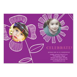 botanical flowers 13 cm x 18 cm invitation card