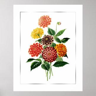 Botanical Flowers Bouquet Poster