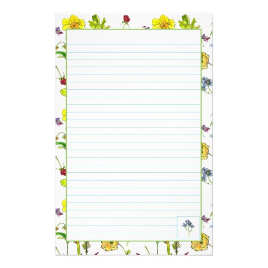 Botanical Flowers Daffodils Pansies Lined Stationery