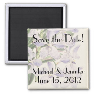 Botanical Flowers Floral Save the Date Square Magnet