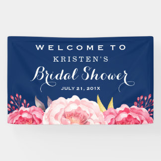 Botanical Flowers Navy Blue Bridal Shower