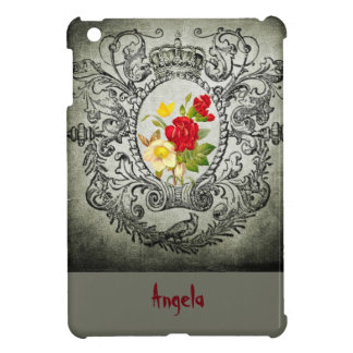 botanical frame red yellowroses grunge background case for the iPad mini